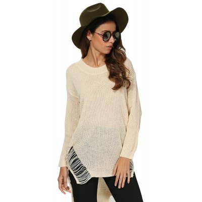 Buy OFF-WHITE Women Chic Round Collar Frayed Asymmetrical Pullover for $19.18 in GearBest store