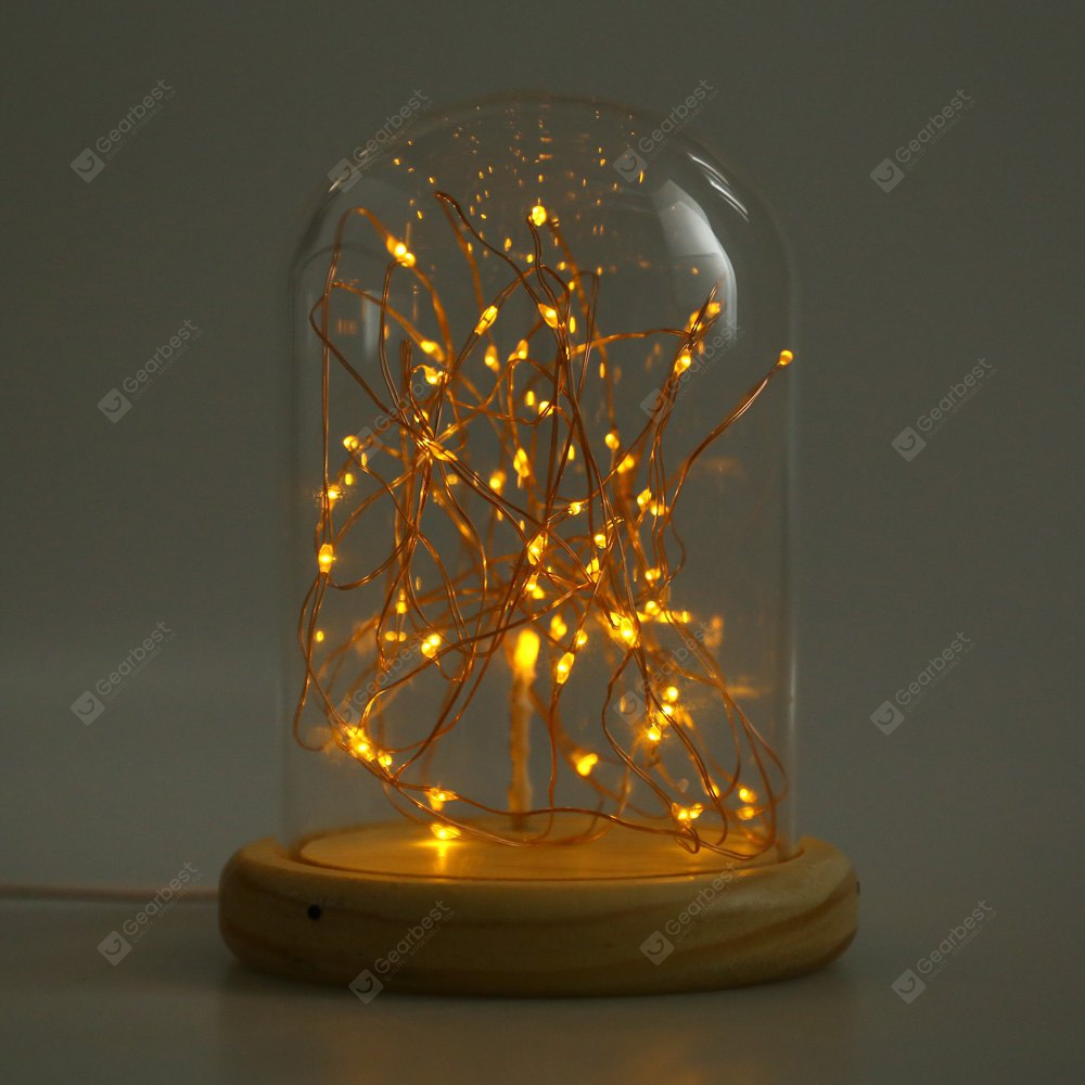 USB LED Firework Glass Cover Table Light