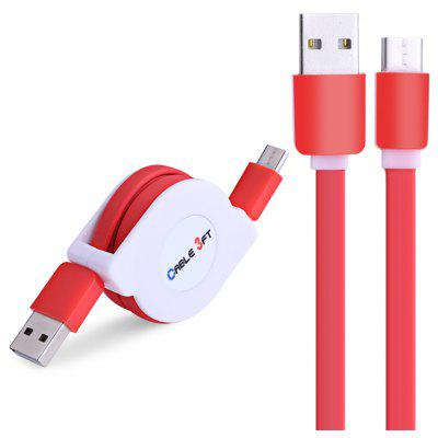 Buy RED Retractable Type-C Fast Charging Data Cable 1M for $2.46 in GearBest store