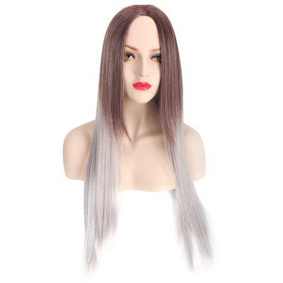 Synthetic Cosplay Long Straight Gradient Pink Gray Full Wigs