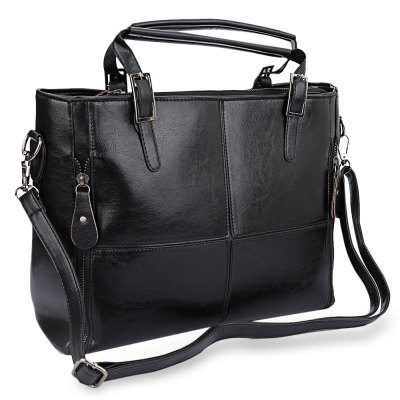 Guapabien Chic Cross Pattern Spliced Pure Color Portable Bag