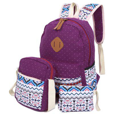3pcs Print Zipper Type Backpack