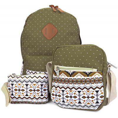 Guapabien 3pcs Print Zipper Type Student Backpack Travel Bag