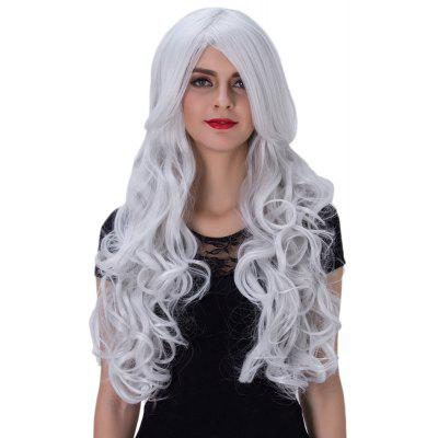 Glamorous Long Wavy Synthetic Silver White Wigs