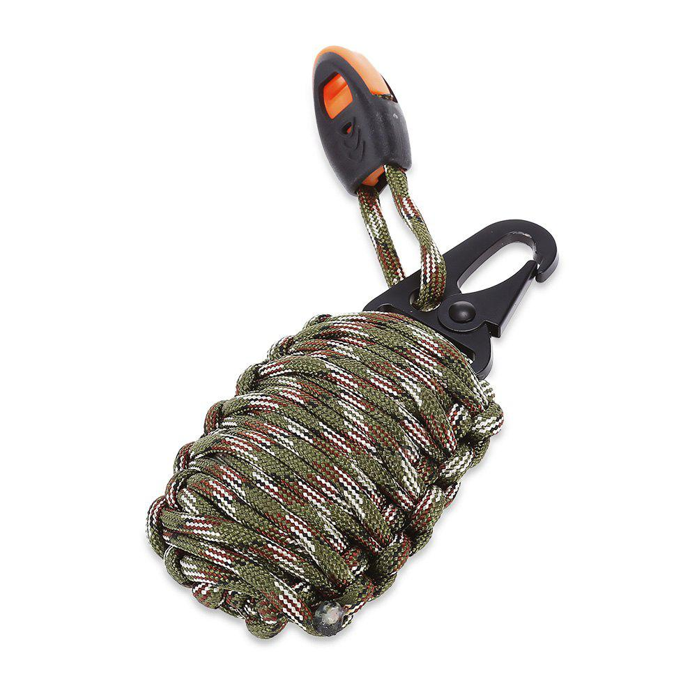 ARMY GREEN CAMOUFLAGE Paracord Survival Grenade Keychain with Carabiner