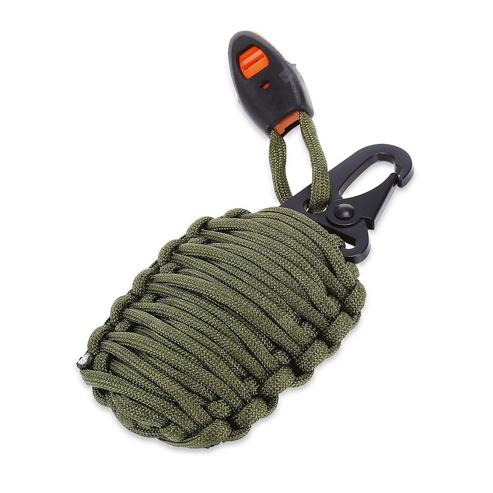 ARMY GREEN Paracord Survival Grenade Keychain with Carabiner