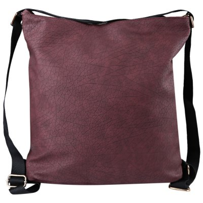 Guapabien Solid Color PU Leather Travel Shopping School Shoulder Girl Bag