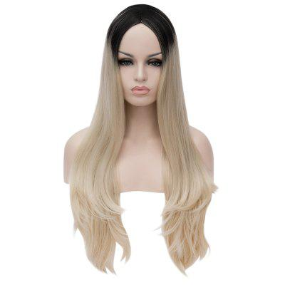 Harajuku Cosplay Highlight Long Loose Wavy Side Parting Gradient Colors Synthetic Wig