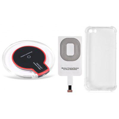 Buy BLACK Qi Wireless Charger + Charging Receiver + Transparent Cover for $7.04 in GearBest store