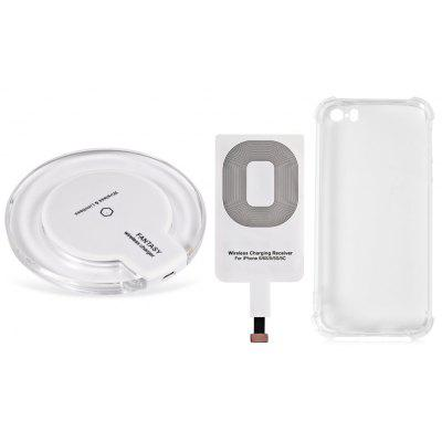 Buy WHITE Qi Wireless Charger + Charging Receiver + Transparent Cover for $7.04 in GearBest store