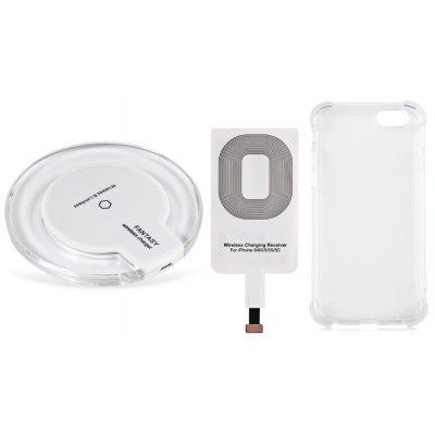 Buy WHITE Qi Wireless Charger + Charging Receiver + Transparent Case for $7.19 in GearBest store