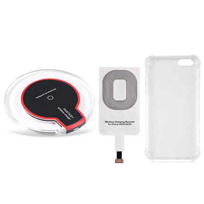 Buy BLACK Qi Wireless Charger + Charging Receiver + Transparent Shell for $7.19 in GearBest store