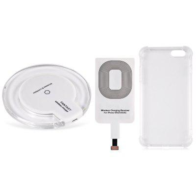 Buy WHITE Qi Wireless Charger + Charging Receiver + Transparent Shell for $7.19 in GearBest store