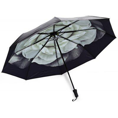 Buy GREEN 3 Folding Flower Print Sunshade Parasol Umbrella for $12.59 in GearBest store