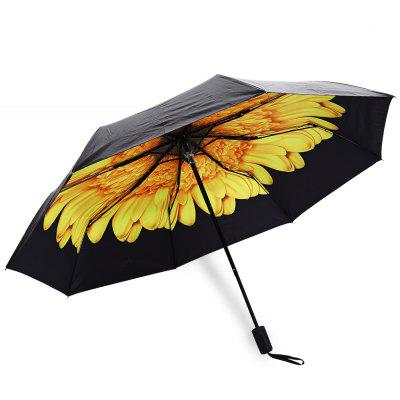 Buy YELLOW 3 Folding Flower Print Sunshade Parasol Umbrella for $12.59 in GearBest store