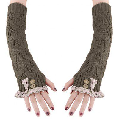 Lace Decoration Button Girls Long Gloves
