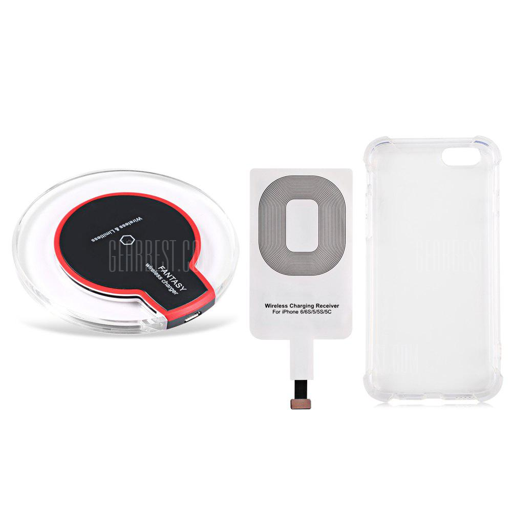 BLACK Qi Wireless Charger + Charging Receiver + Transparent Case