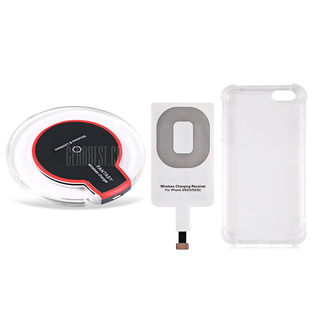 BLACK Qi Wireless Charger + Charging Receiver + Transparent Shell