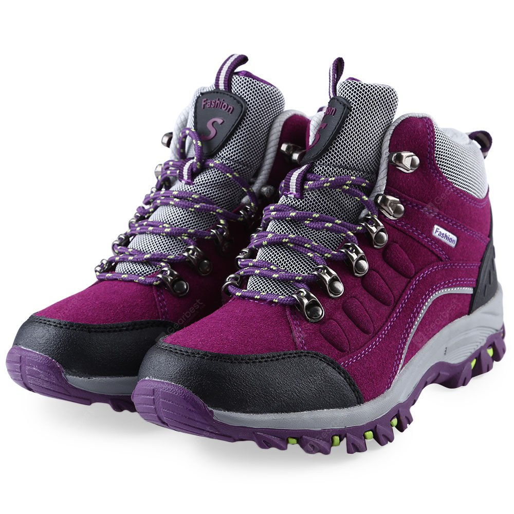 Outdoor Block Color Lace Up Ladies Caminhadas Sapatos Esportivos