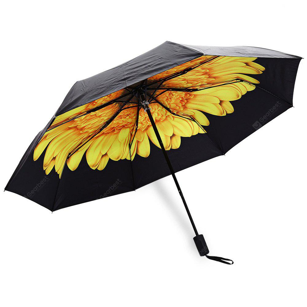 YELLOW 3 Folding Flower Print Sunshade Parasol Umbrella