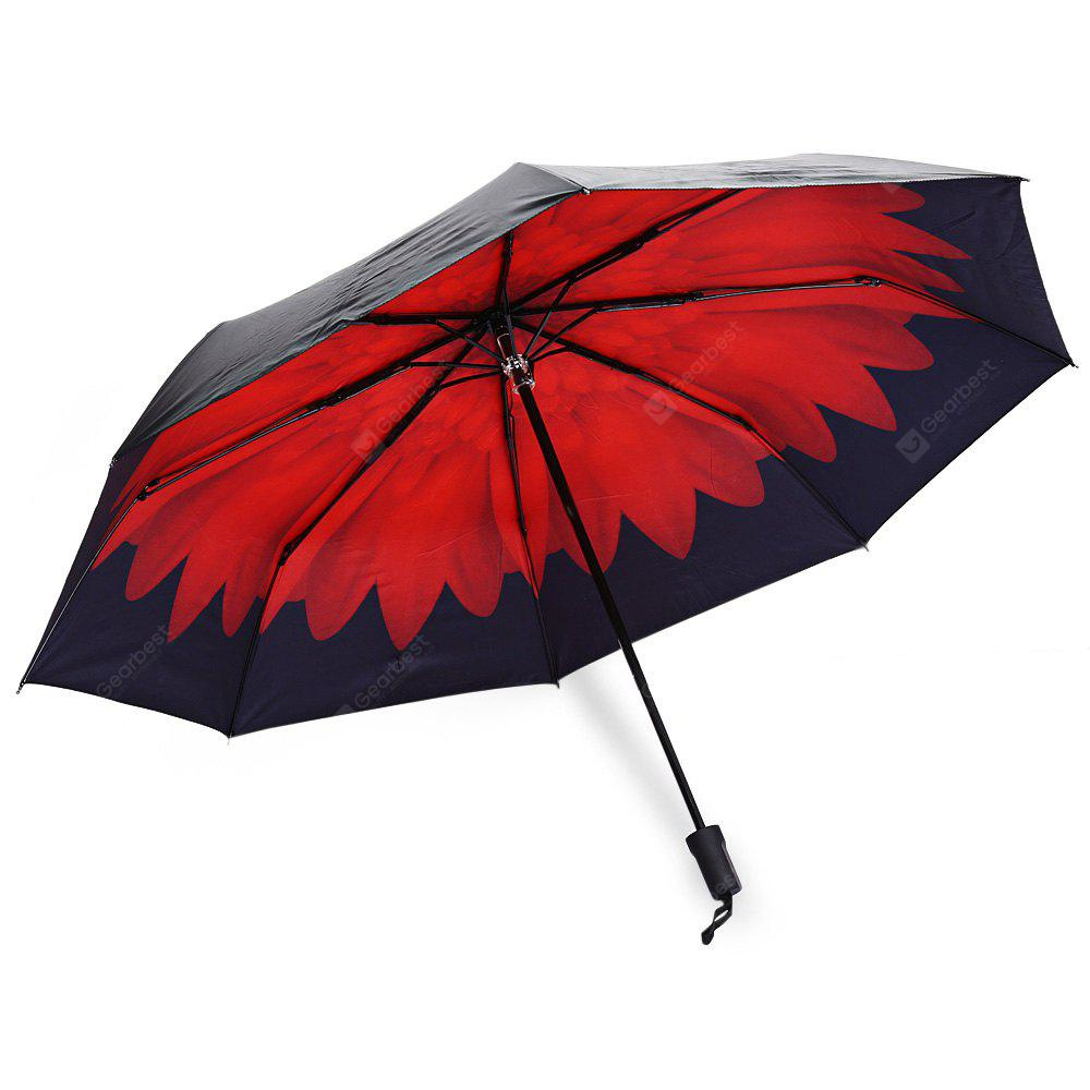 RED 3 Folding Flower Print Sunshade Parasol Umbrella