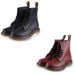 Pure Color Round Toe Lace Up Male High-top Boots - BLACK