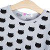 Lovely Cat Printed Girls Dress - BLACK AND GREY