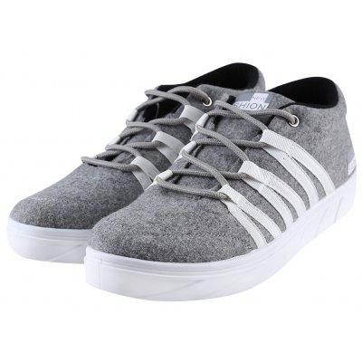 Buy GRAY 43 Stripe Letter Print Lace Up Male Sports Canvas Shoes for $24.06 in GearBest store