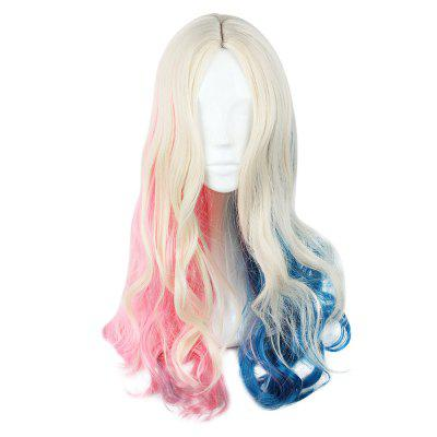 Long Curly Mixed Colors Pink Blue Wigs for Cosplay