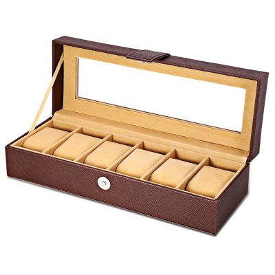 6 Slots Multifunctional Leather Watch Display Box