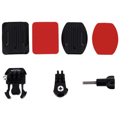 TELESIN Camera Flat Curved Helmet Mount Accessory for Sony AS15 / 30