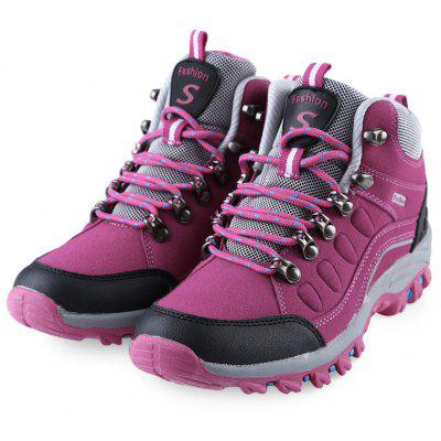 Outdoor Block Color Lace Up Ladies Hiking Sports Shoes