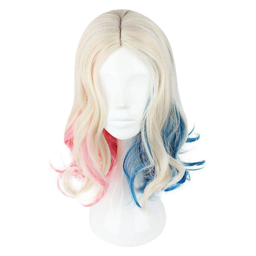 Long Curly Mixed Colors Pink Blue Perucas para Cosplay