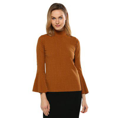Turtleneck Flare Sleeve Rib Knitted Women Pullover