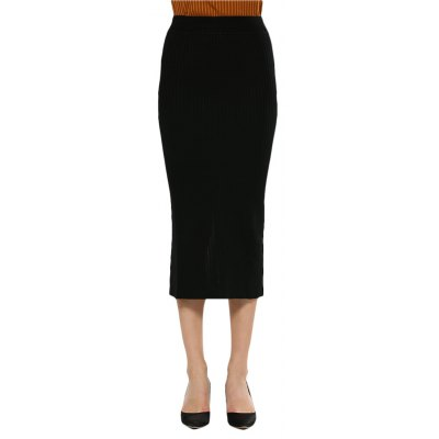 Women Brief Rib Knitted Skirt