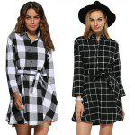 Women Trendy Turn Down Collar Color Block A-Line Plaid Dress - WHITE AND BLACK