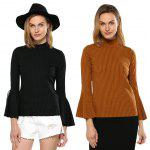 Women High Neck Flare Sleeve Rib Knitted Pullover photo