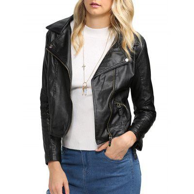 Turn Down Collar Women Biker Jacket