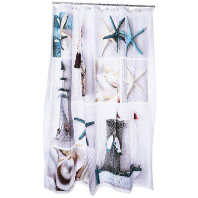 3D Blue Sea Life Seashell Pattern Water-resistant Shower Curtain