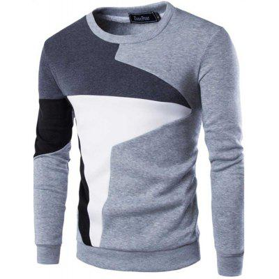 Color Block Male Pullover Spliced Hoodies Sweater