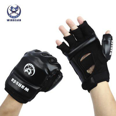 Wansda WSD - 1008 Paired Karate Thai Boxing Half Finger Gloves