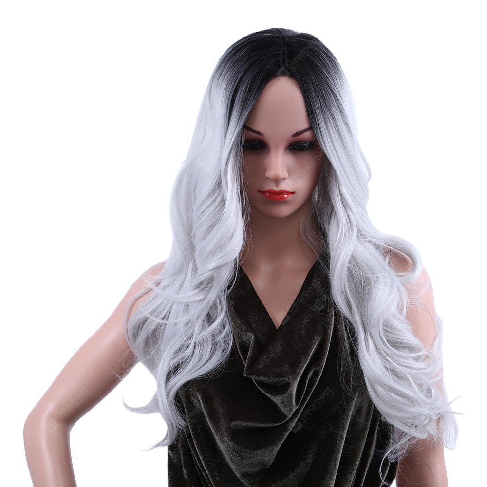 Mujeres Ombre Long Black Mixed Grey Wigs
