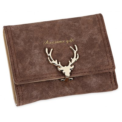 Mulheres Natal Elk Lock Three Fold Flip Frosted Wallet Purse