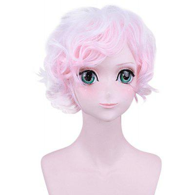 Lovely Short Gradient Pink White Wig com Side Bangs