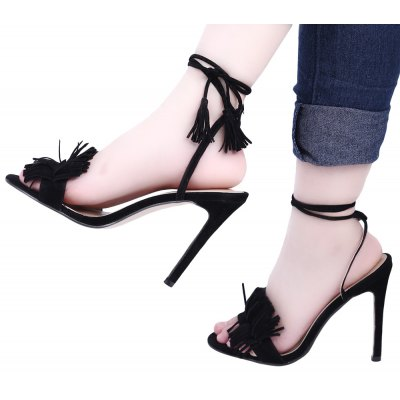 Sexy Tassel Lace Up High Heels Open Toe Sandals for Women от GearBest.com INT