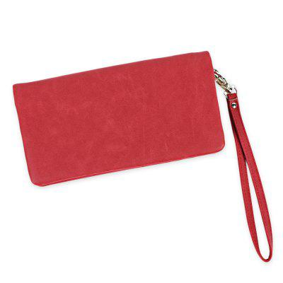 Long Paragraph Old Classical Zipper Matte Solid Color Women Purse