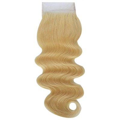 Brazilian 4 x 4 Body Wave Free Part Lace Closure Blonde 6A Virgin Hair Bleached Knots