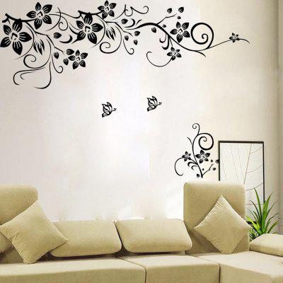 Fashionable Flower Pattern Removable Wall Sticker Film