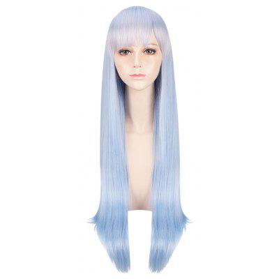 Long Natural Straight Blue Wigs Cosplay