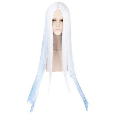Long Straight Gradient White Blue Wigs Central Parting